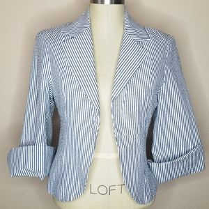 3 Sisters Striped Seersucker Cuffed Sleeve Blazer